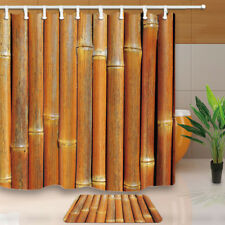 Dense Dried Bamboo Bathroom Shower Curtain Waterproof Fabric 71*71 inch & Hooks