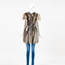 Prada RUNWAY COUTURE NWOT Prada Brown Fox Fur Belted SS Outerwear Coat SZ 38