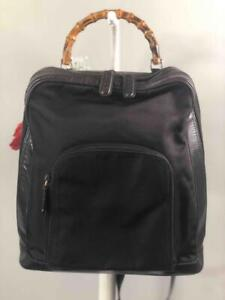 Vintage GUCCI Bamboo Top Handle Black Canvas w. Leather Trims Sling Backpack