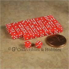 NEW 5mm 50 Opaque Red Mini Dice Set RPG Game Miniature Tiny 3/16 inch D6 Koplow