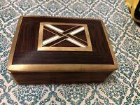 Vintage BOX with Lid Handmade Inlaid brass bone wood NICE