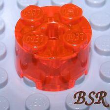 SK152) 2 Stück transparent rot orange Rund Bau Steine 2x2 FL.REDORA unbespielt