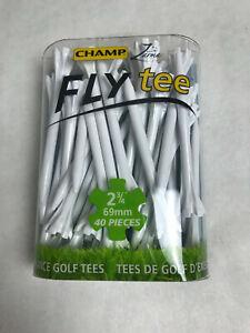 """40 Champ Zarma Fly 2 3/4"""" Zero Friction White Golf Tees 40 Tees 92521 NEW"""