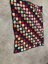 "VTg Throw Afghan Granny Squares Small Maroon Orange blanket Black Crochet 44"""