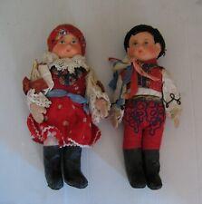 2779* paire poupée couple corps chiffon tête composition ancienne jumeau?
