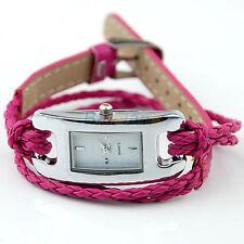Ladies Fashion IEKE Quartz Silver White Face Rose Red Braid Band Wrist Watch.