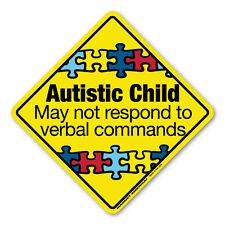 "Autism Awareness AUTISTIC CHILD EMERGENCY Car Magnet  5"""