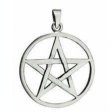 10.3 g Stamped Solid Sterling Silver Pentagram in Circle Star Pendant BELDIAMO