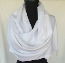 Turkish Pashmina Scarf 100% Viscose Plain Wrap Shawl Stole Scarf WHITE