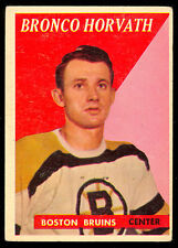 1958 59 TOPPS HOCKEY #35 BRONCO HORVATH EX+ BOSTON BRUINS CARD