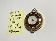 Vintage Lucerne Necklace Or Pocket Watch 33mm Running
