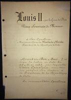 1926 signed by Prince of Monaco Louis II to Cuban President Gerardo Machado