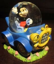 RARE Disney Store Mickey Mouse Waving in a Blue Car Snowglobe Glass Dome Figure