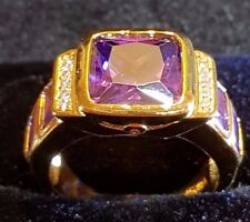 Millionaire amethyst 18ct yellow gold filled mens RING 10 us