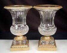 Pair Vintage French Crystal Ormolu Urns