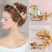 Womens Pearl Crystal Flower Rhinestone Hair Clip Wedding Bridal Bride Headwear