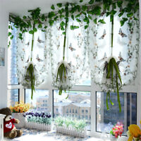 Pastoral Tulle Window Roman Curtain Embroidered Sheer For Kitchen Living Room BL