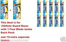 2 Gillette Guard Razor with blade cartridge +10 Extra Blades Cartridge Men Shave