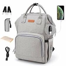 Diaper Bag Backpack Nappy Bags Waterproof Mommy Bag Travel Baby Nursing (Grey)