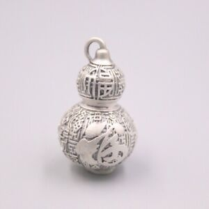 New Pure 999 Fine Silver Dragon with the Heart Sutra Bless Gourd Pendant