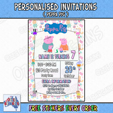 PEPPA PIG - Personalised Birthday Party Invitations / Invites Party Supplies