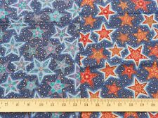 CELESTIAL Stars Kaufman Stained Glass Blue Red Gold Quilt Sewing Fabric Cotton