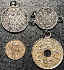 France & Allemagne - lot de x4 monnaies transformées en bijoux