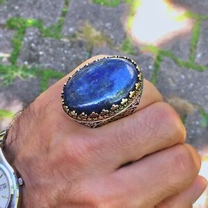 Lapis Lazuli Mens Ring 925 Sterling Silver Extraordinary Unique Artisan Jewelry