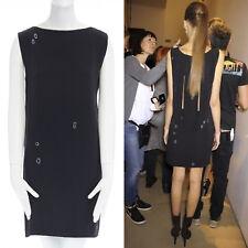 JIL SANDER RAF SIMONS black embroidered slash slit back mini dress XS US0 UK4