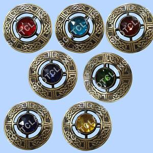 "SC Scottish Kilt Fly Plaid Brooch Various Colors Of Stone Antique Finish 3""/Celt"
