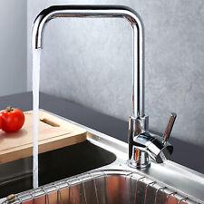 Brushed Steel Modern Kitchen Sink Mixer Taps Mono Square Single Spout Tap Swivel