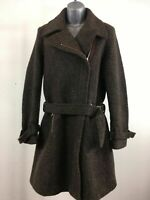 WOMENS ESPRIT BROWN WOOL MIX BELTED FULL LENGTH COAT ZIP UP SIZE 12