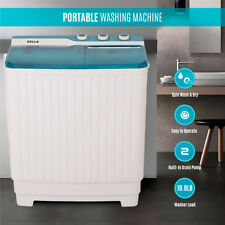 Portable Compact Twin Washing Machine Washer Spin & Dry Cycle 9KG w/ DRAIN PUMP