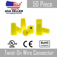 50 Piece Yellow Twsit On Wire Nut Connector 18 12 Gauge Barrel Conical Screw Usa
