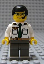Lego Minifig MALE AIRLINE PILOT - City Airport Boy w/Black Hair & Gray Legs