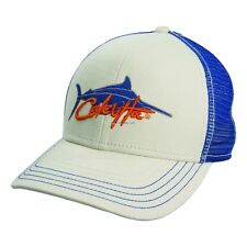 NEW Calcutta Fishing Cap Putty w/Royal Blue Mesh Back Marlin Design BRS131384