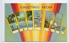 Vintage Large Letter Linen-Greetings From Erie,Pa