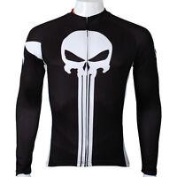 Punisher Long Sleeve Cycling Jersey Mens Bike Bicycle Jersey Cycling Shirt S-5XL