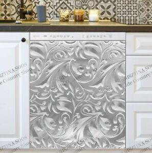 Kitchen Dishwasher Magnet Cover - Engraved Light Batik Metal Design Pattern
