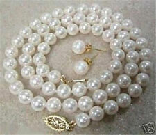 """8mm White Akoya Cultured Shell Pearl Necklace Earring Set 18"""" AAA"""