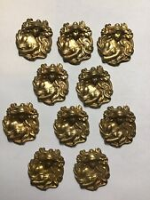 Art Nouveau Ladies 10 Vintage Stamped Brass