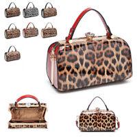 Ladies Patent Leopard Evening Handbag Gem Clasp Shoulder Bag Box Clutch MA36520