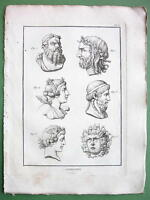 GODDESSES Gorgona Victory Pan Asclepius Medusa - 1804  Copperplate Print