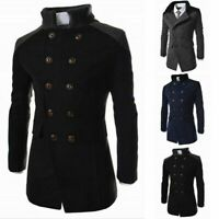 Mens Woolen Winter Trench Coat Double Breasted Warm Long Jacket Overcoat Outwear