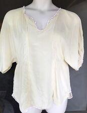 TERRITORY AHEAD Size M L Ivory Silk Vtg Style Babydoll Top Crochet Lace Boho