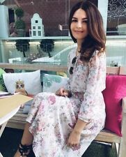 ZARA FLORAL PRINTED FLOWING MIDI DRESS TEA DRESS VINTAGE STYLE SIZE SMALL
