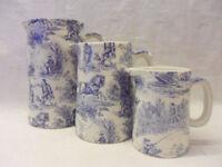 Blue toile de jouy set of 3 jugs by Heron Cross Pottery