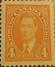 CANADA STAMP 4 CENTS GEORGE VI ORANGE