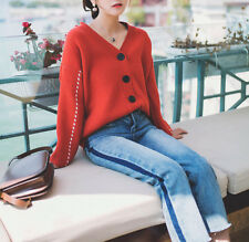 New Women Girl Fashion Korean Fall Winter Coat Knit Cardigan Loose Striped