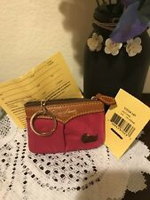 Dooney & Bourke Nylon With Leather Trim Small Coin Case In Hot Pink NWTS